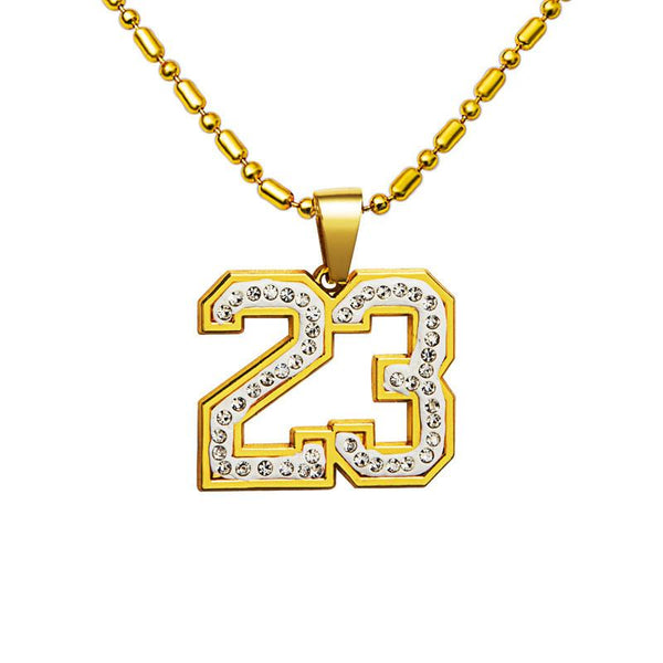 Iced Out 18K Gold Number 23 Pendant