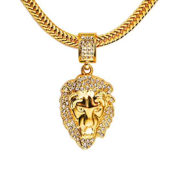 Iced Out 18K Gold Roaring Lion Pendant