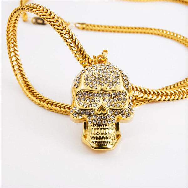 Fully Iced Out 18K Gold Skull Pendant