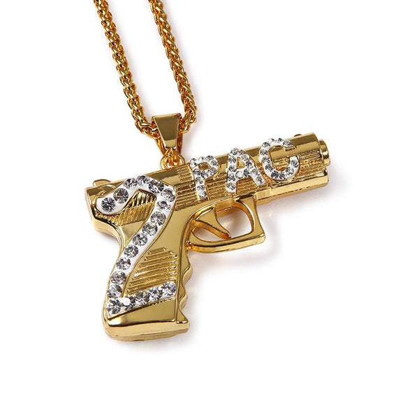 Iced Out 18K Gold 2Pac Gun Pendant