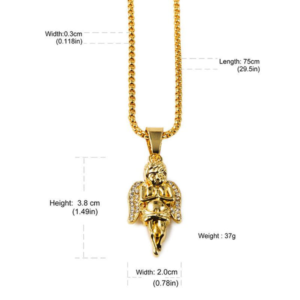 Iced Out 18K Gold Praying Angel Pendant