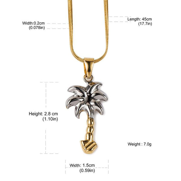 18K Gold & Silver Coconut Tree Pendant