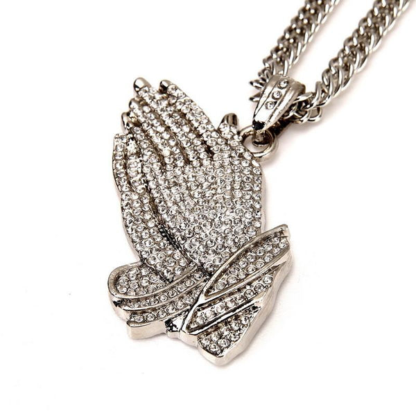 Fully Iced Out 18K Gold/Silver Praying Hands Pendant [Black Diamonds Edition Available]