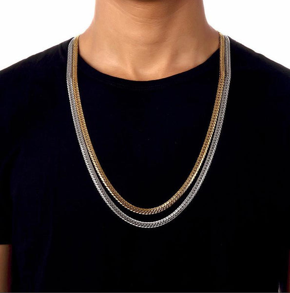 6mm 18K Gold/Silver Herringbone Chain