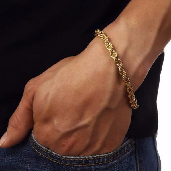6mm 18K Gold Rope Bracelet