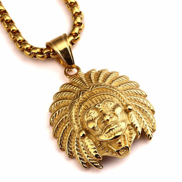 18K Gold Indian Chief Pendant [1st variation]