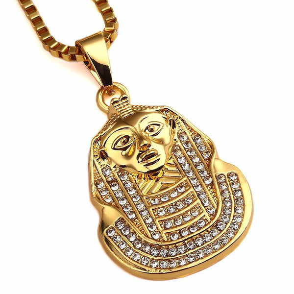 Modern Iced Out 18K Gold Pharaoh Pendant