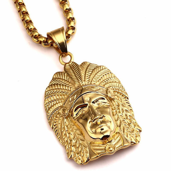 18K Gold Indian Chief Pendant [2nd variation]