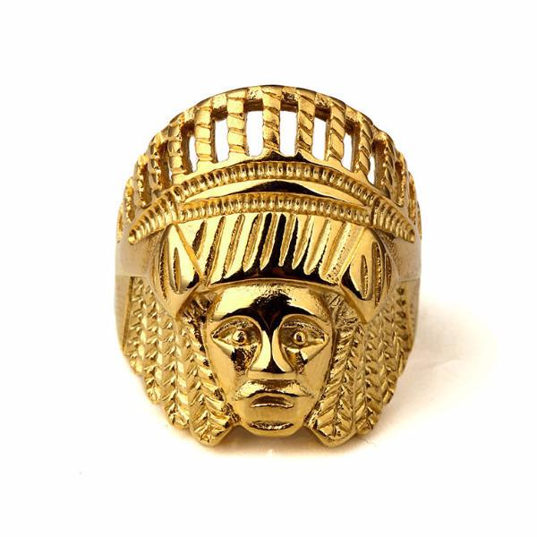 18K Gold Indian Chief Ring