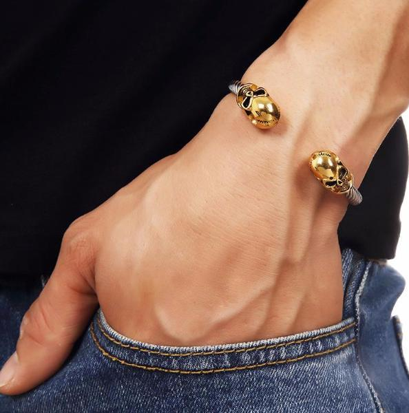 Gold Stainless Steel Skull Bracelet