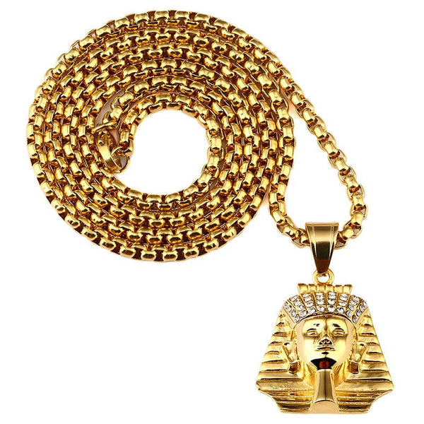 Iced Out 18K Gold King Pharaoh Pendant