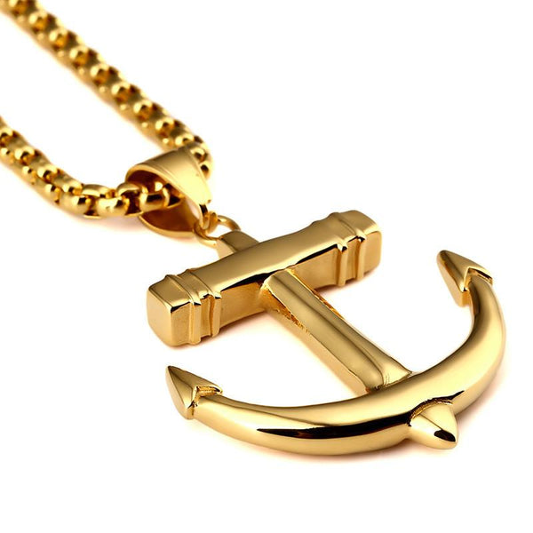 18K Gold Anchor Pendant