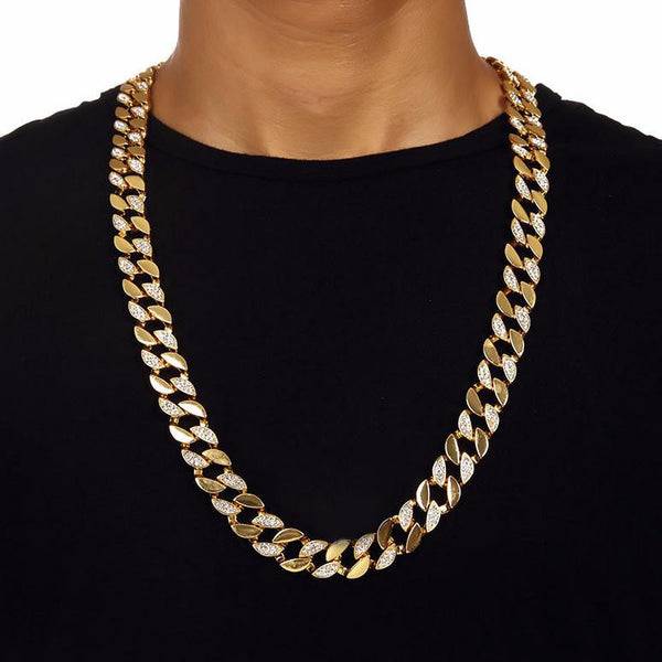 Iced Out 14mm 18K Gold Cuban Link Chain [2nd variation]