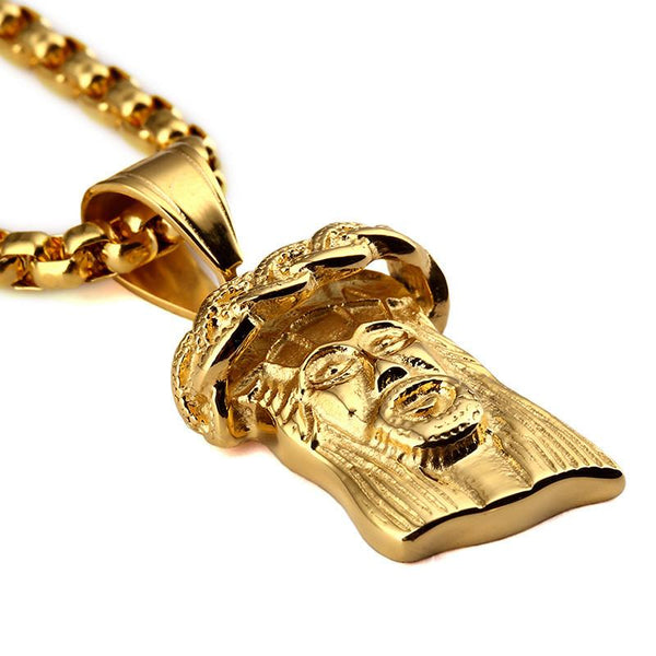 3D Crown 18K Gold Jesus Piece Pendant