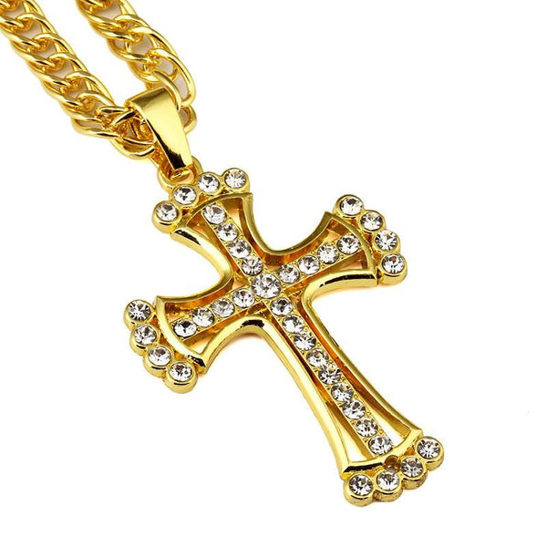 Iced Out 18K Gold/Silver Rhinestone Cross Pendant