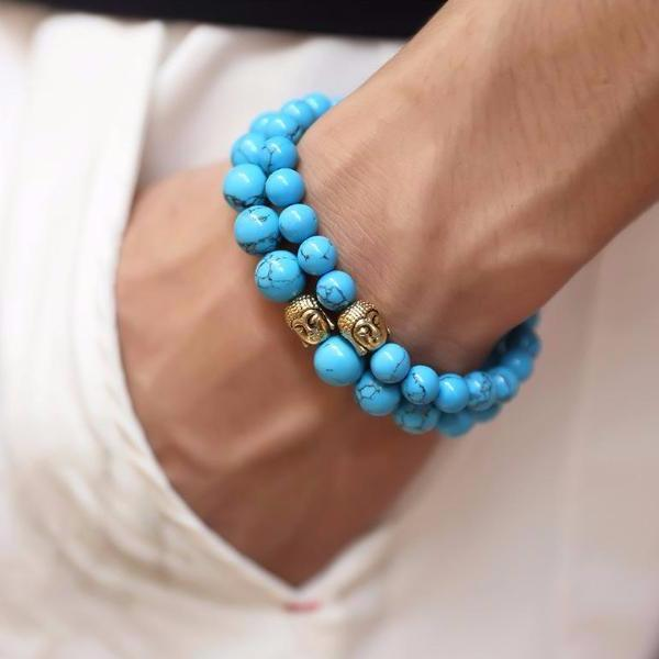 Blue Stone Beaded Gold Buddha Bracelet