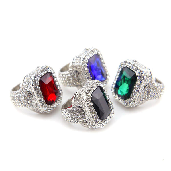 Iced Out 18K White Gold Ruby/Sapphire/Emerald/Black Stone Royal Ring
