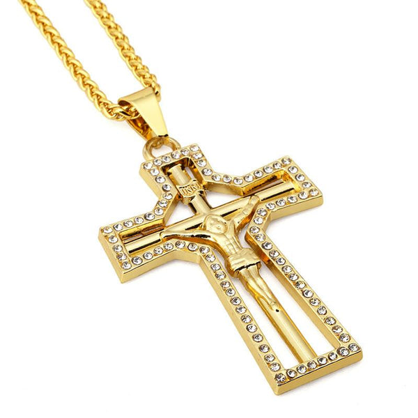 Exclusive Iced Out 18K Gold Cross Pendant