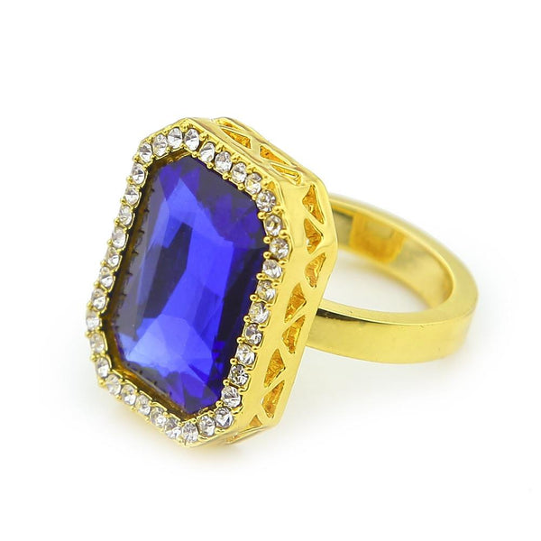 Iced Out 18K Gold Ruby/Sapphire/Black Stone Ring