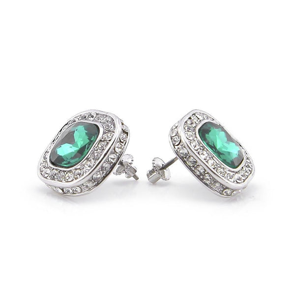 Iced Out 18K White Gold Ruby/Sapphire/Emerald/Black Stone Royal Earrings