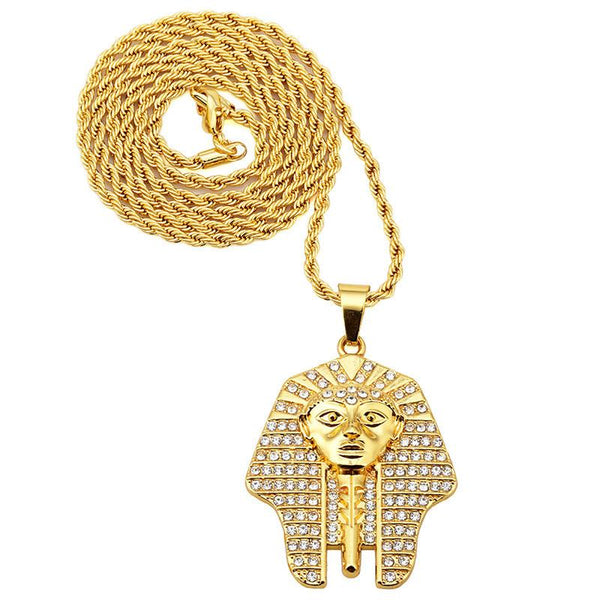 Fully Iced Out 18K Gold Pharaoh Pendant