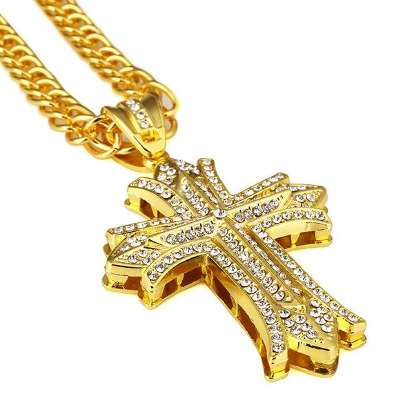 Iced Out 18K Gold 3D Cross Pendant