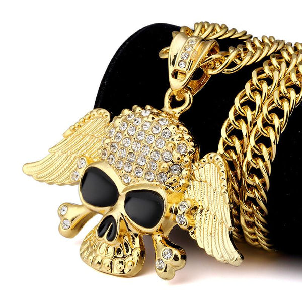 Iced Out 18K Gold Good and Evil Skull Pendant