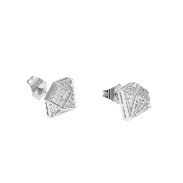 Iced Out CZ Diamond Silver Earrings