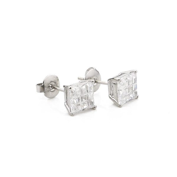 CZ Square Silver Earrings