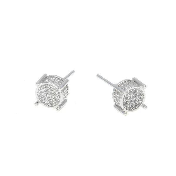 Iced Out CZ Round Silver Earrings
