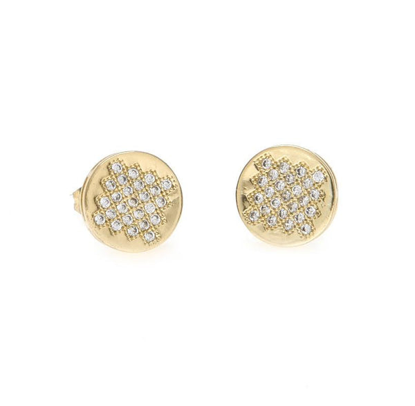 CZ Round Gold Earrings