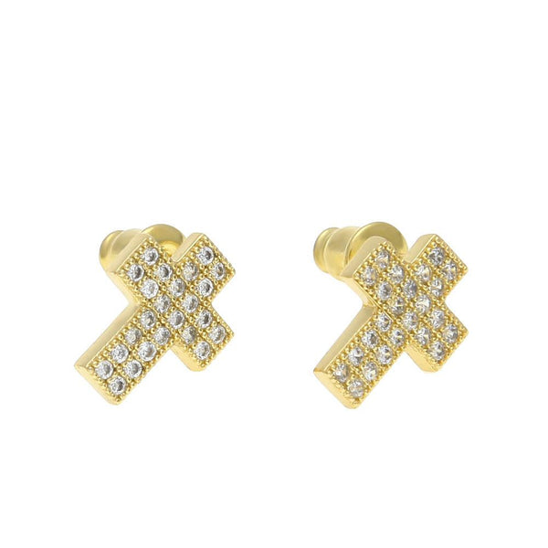 Iced Out 18K CZ Gold Cross Earrings