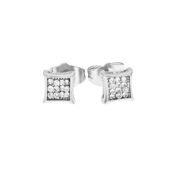 Iced Out 18K Square Gold/Silver Earrings