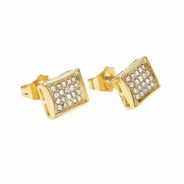 Iced Out 18K Gold/Silver Four Rows Earrings