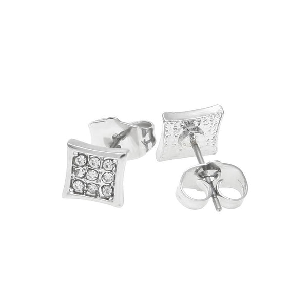 CZ Three Rows Silver Earrings