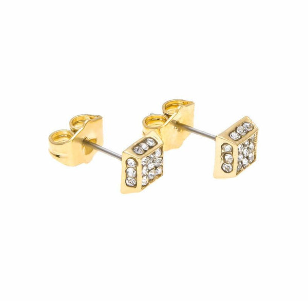 Iced Out 18K Gold/Silver Four Sided Earrings