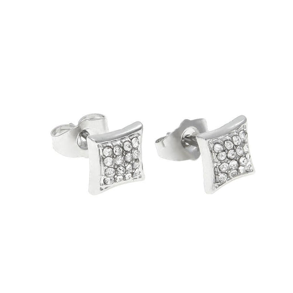 Rhinestone Four Rows Silver Earrings