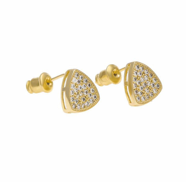 18K CZ Triangle Gold Earrings