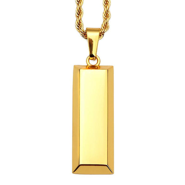 18K Gold Bar Pendant