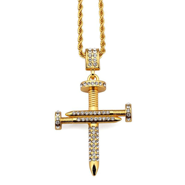 Iced Out 18K Gold Nail Cross Pendant