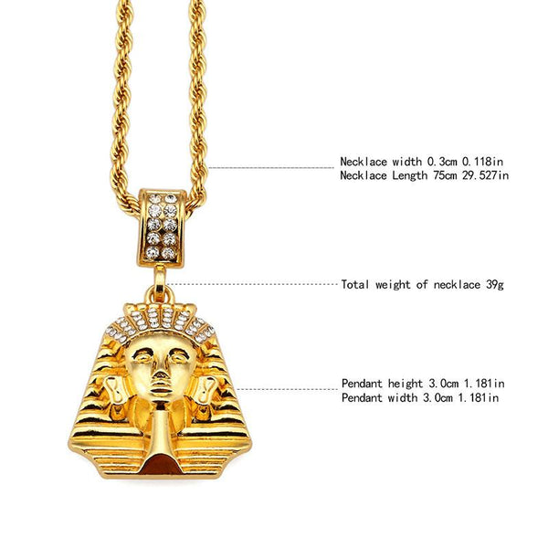 Iced Out Crown 18K Gold Pharaoh Pendant