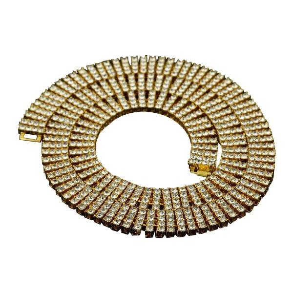 Iced Out Four Rows 20mm 18K Gold/Silver Tennis Chain