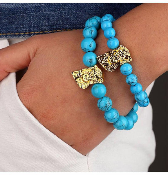 Blue Stone Beaded Gold Jesus Piece Bracelet