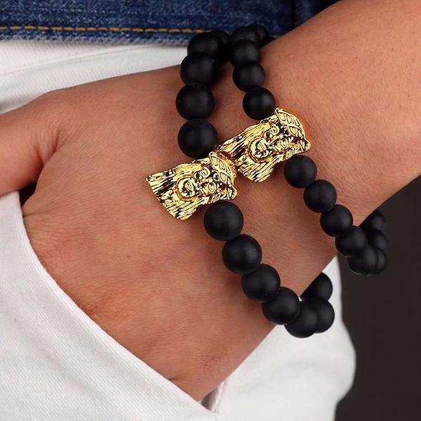 Matte Beaded Gold Jesus Piece Bracelet