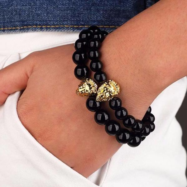 Beaded Gold Lion Bracelet