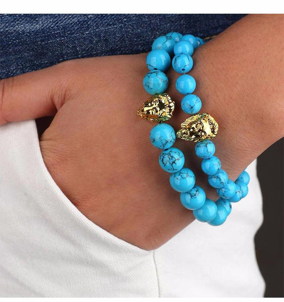 Blue Stone Beaded Gold Lion Bracelet