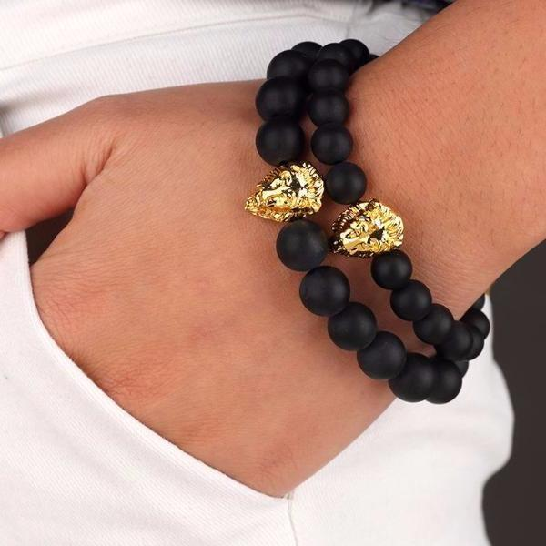Matte Beaded Gold Lion Bracelet