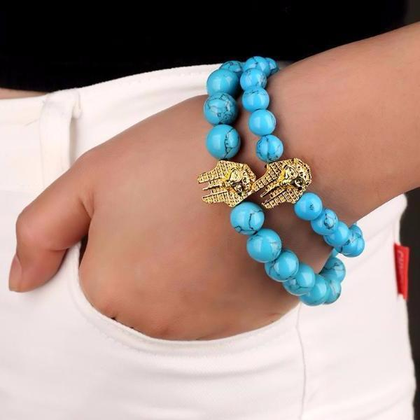 Blue Stone Beaded Gold Pharaoh Bracelet