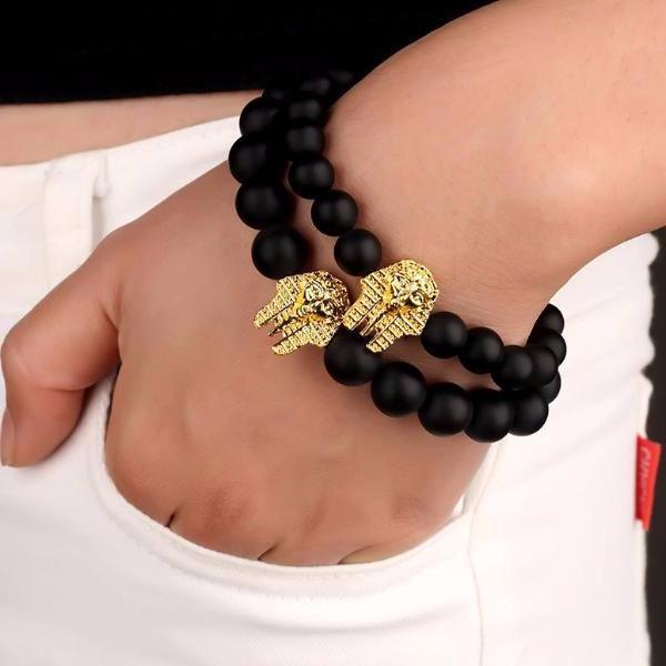 Matte Beaded Gold Pharaoh Bracelet