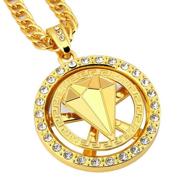 Iced Out 18K Gold Diamond Medallion Pendant